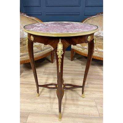 Napoleon III Period Pedestal Table In Mahogany Decorated With Beautiful Gilded Bronzes