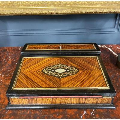 Alphonse Giroux (1776- 1848): Signed Marquetry Travel Writing Case - Nineteenth