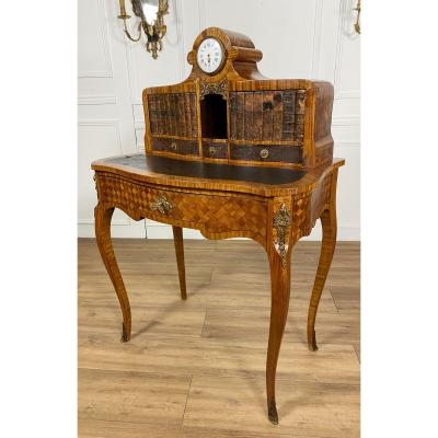 Napoleon III Period Cardboard Desk In Marquetry Decorated With Bronzes