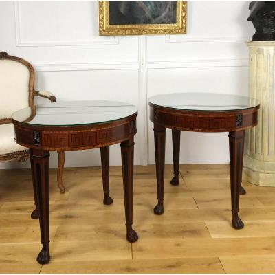 Pair Of Empire Style Pedestals In Mahogany Veneer - Glass Top
