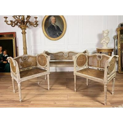 Napoleon III Period Canning Lounge In Louis XVI Style Lacquered Wood