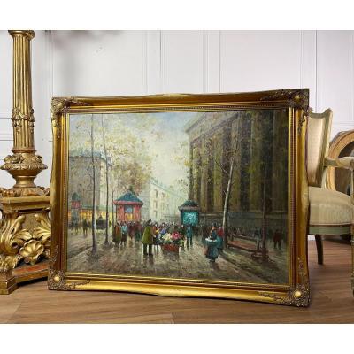 Grande Huile Sur Toile / Peinture Des Années 50 Représentant Une Vue De Paris
