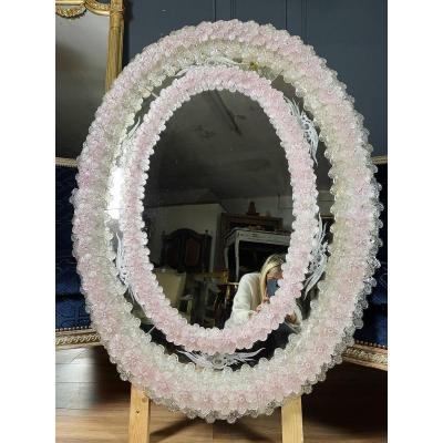 Miroir De Venise Ovale Des Années 50 En Verre De Murano - XXe (h112cm)