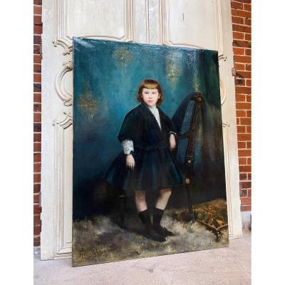 Nineteenth Oil On Canvas Representing The Portrait Of A Child - Signed Henri Vollet