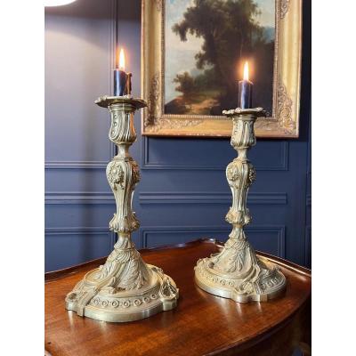 Pair Of Napoleon III Candlesticks In Gilt Bronze Louis XV Style
