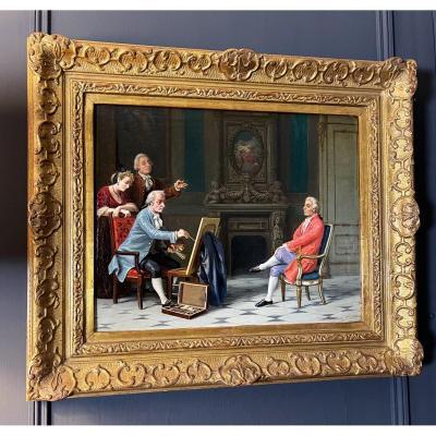 Oil On Canvas / 19th Century Table - Genre Scene