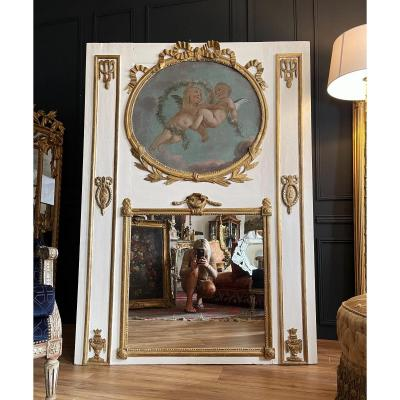 Louis XVI Period Trumeau In Lacquered Wood - Eighteenth