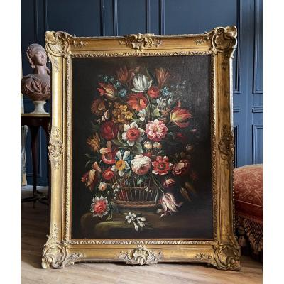Oil On Canvas - French School Of The End Of The 18th Century Representing A Bouquet Of Flowers