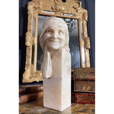 "Italian Marble Sculpture Signed Giusto Viti ""woman With Veiled Eyes"" - XXth"
