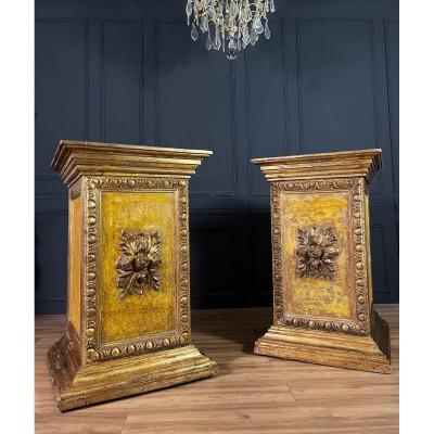 Pair Of Italian Sheaths / Columns In Golden And Painted Wood Louis XVI Style