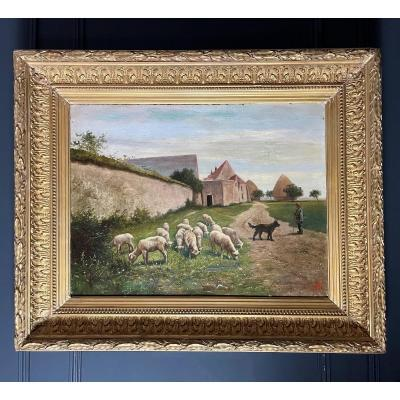 Oil On Canvas, French School Of The Nineteenth Representing A Shepherd And His Sheep
