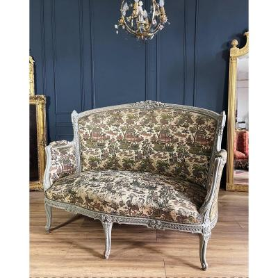 Napoleon III Corbeille Sofa In Painted Wood - Fabric Decorated With XIXth Chinoiserie