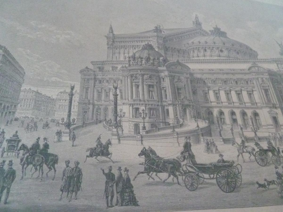 Engraving 1875 General View New Opera Paris Architecture Garnier