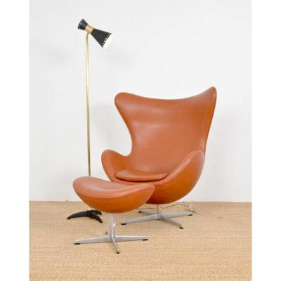 Egg Armchair And Its Footstool By Arne Jacobsen Edition Fritz Hansen.