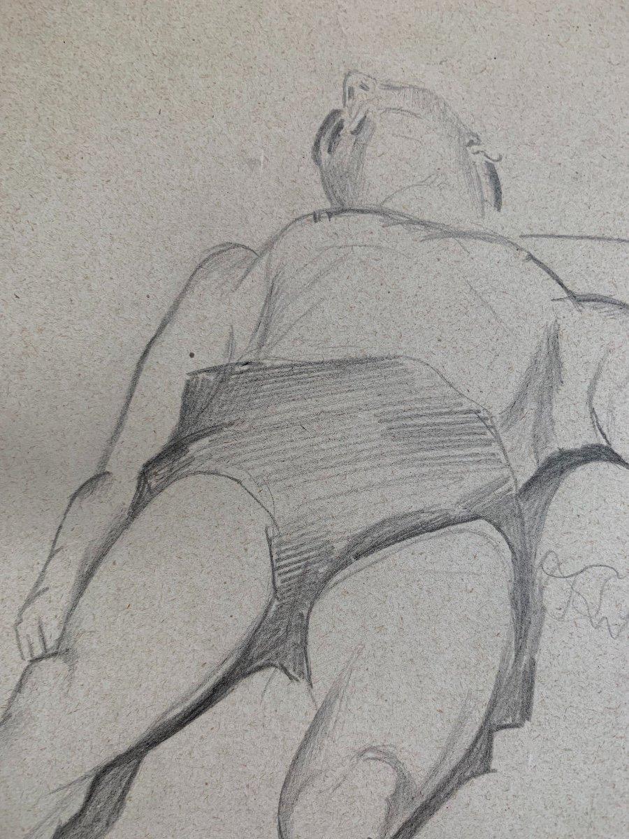 Raymonde Heudebert (1905-1991), Étude Nu Masculin Allongé-photo-2