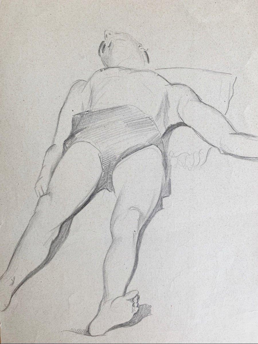 Raymonde Heudebert (1905-1991), Étude Nu Masculin Allongé-photo-4