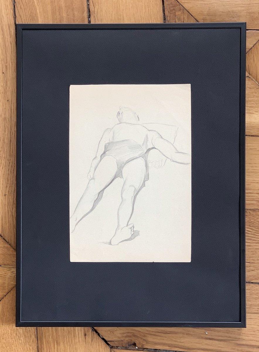 Raymonde Heudebert (1905-1991), Étude Nu Masculin Allongé