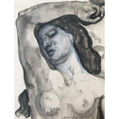 Louis Bouquet (1885-1952) - Buste de femme nue au bras levé