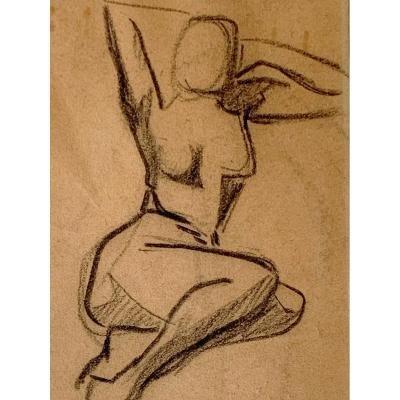 Adolphe Péterelle (1874-1947) - Nu Féminin Assis