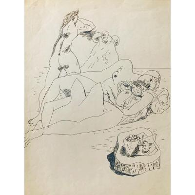 Mathieu Rosianu (1897-1969) - Scène Surréaliste