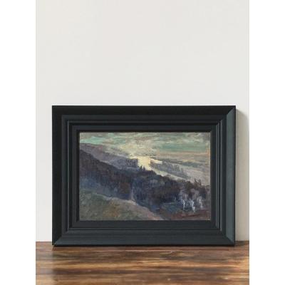 Raymond Quibel (1883-1978) - Paysage, vue de l'île Lacroix à Rouen, huile sur panneau, 24 x 35 cm