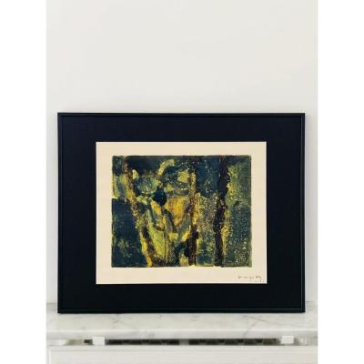Pierre Montheillet (1923-2011) - Composition En Vert Et  Jaune