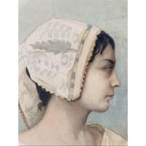 Mathilde Bonaparte (1820-1904) - Portrait De Femme De Profil, 1888, Aquarelle