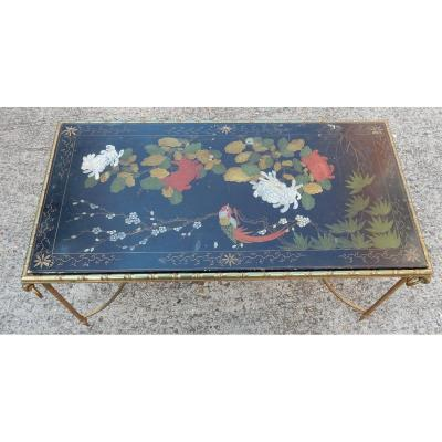 1950-1970 'bronze Pair Of Coffee Tables Decor Bamboo, Chinese Black Lacquer Maison Baguès Style