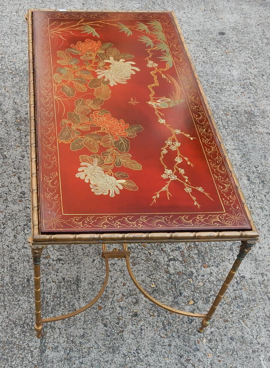 1950/70' Table Basse Bronze Décor Palmier , Plateau Laque De Chine Rouge Style Maison Bagués