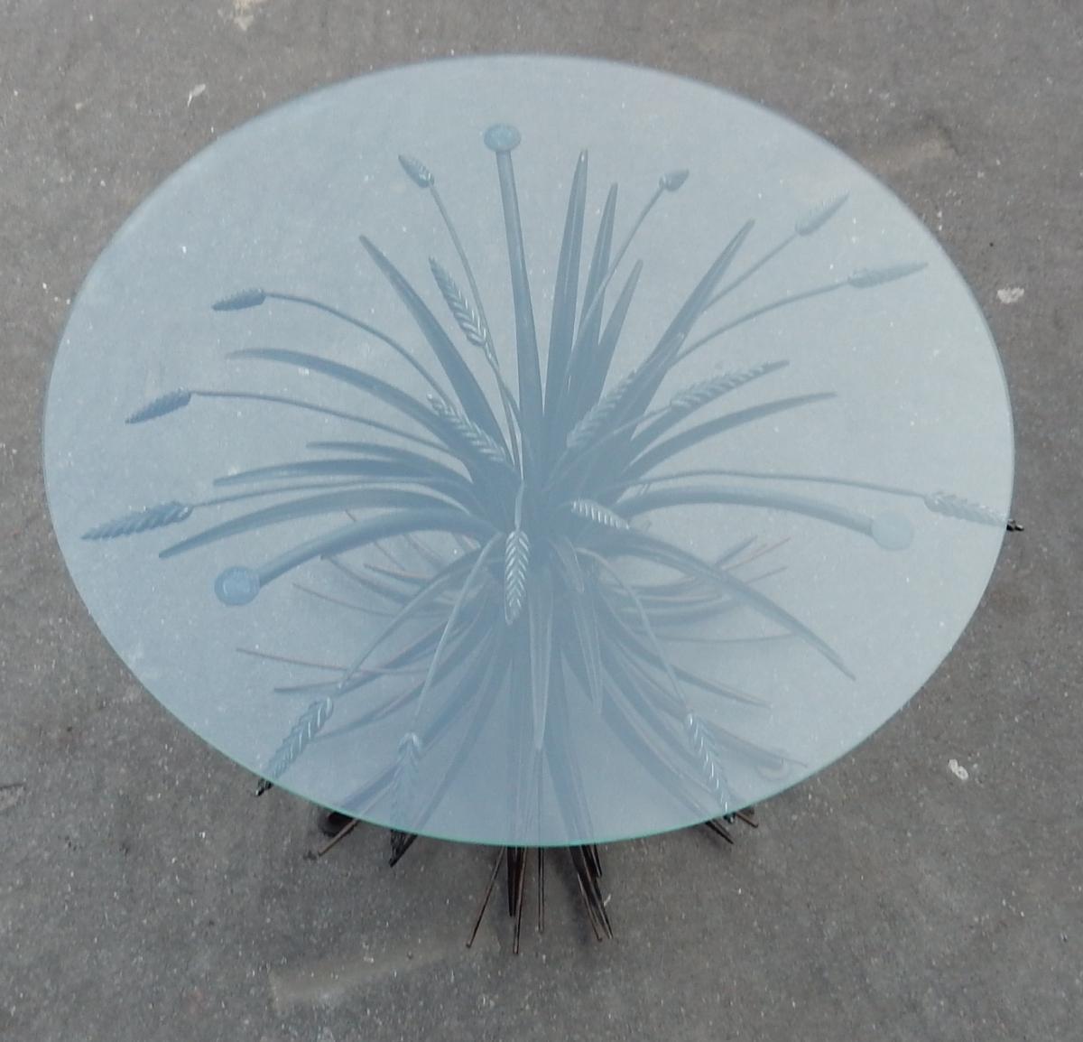 1970' Guéridon Ou Table Basse Gerbe De Blé Noire St CC