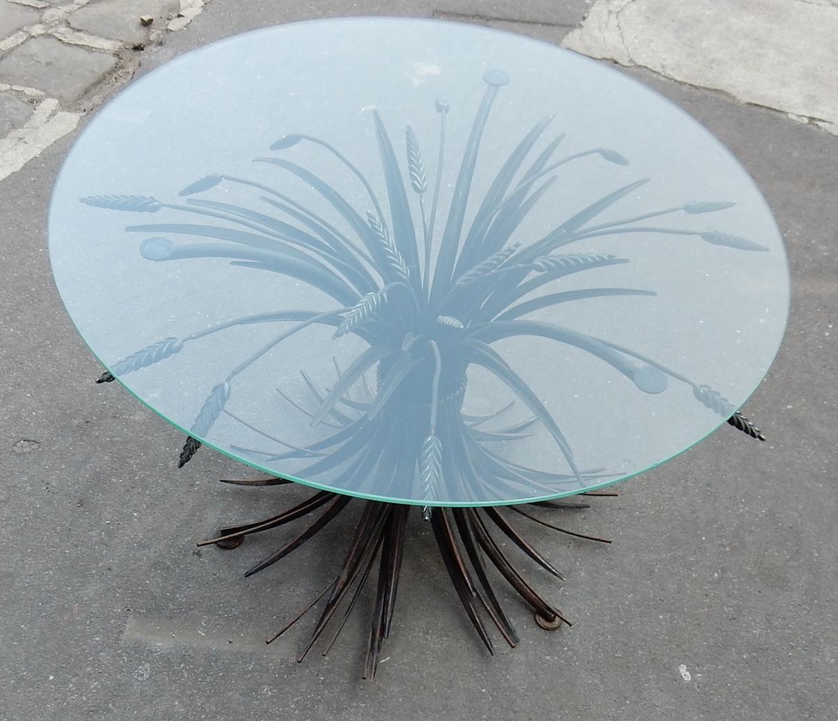 1970' Guéridon Ou Table Basse Gerbe De Blé Noire St CC-photo-2