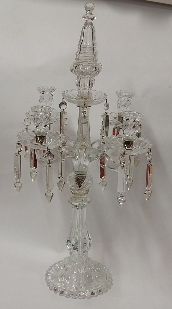 1950 'baccarat Candlestick With 4 Branches Beaded Base Bamboo Model Or Twisted Unsigned