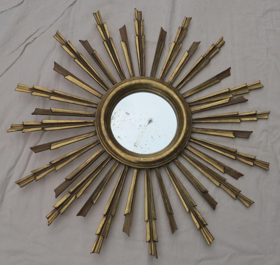 1900'  Sun Mirror Golden Wood Gold Leaves 81 Cm Diameter