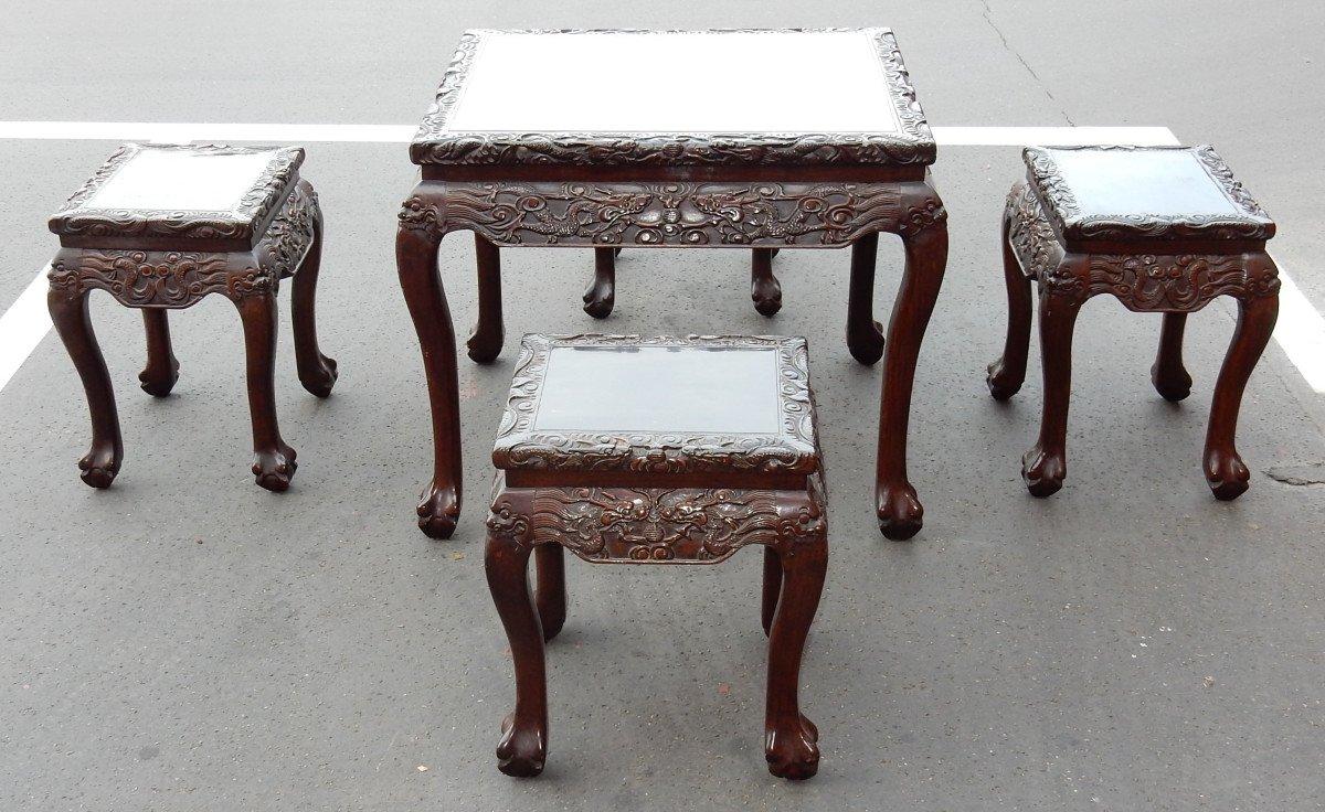 1920/1950 Table A Jeux Mahjong Chine Et Ses 4 Sièges Palissandre-photo-4