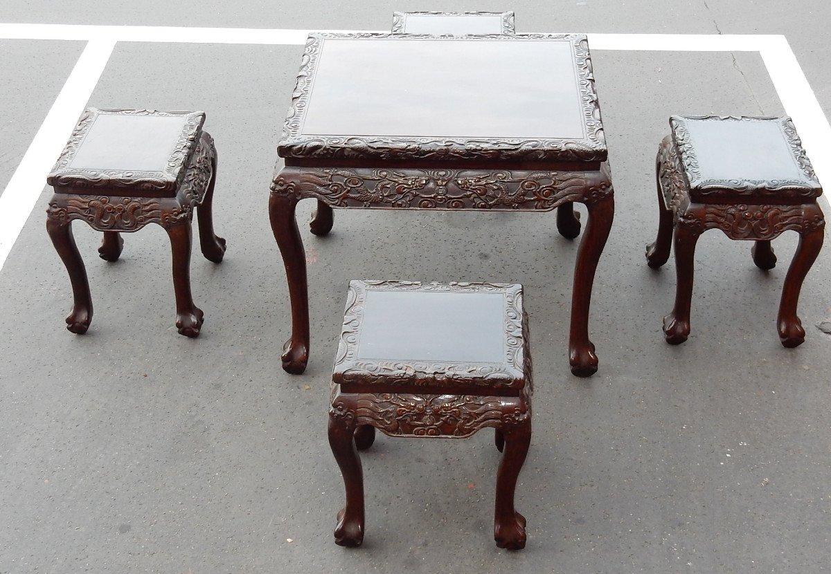 1920/1950 Table A Jeux Mahjong Chine Et Ses 4 Sièges Palissandre-photo-1