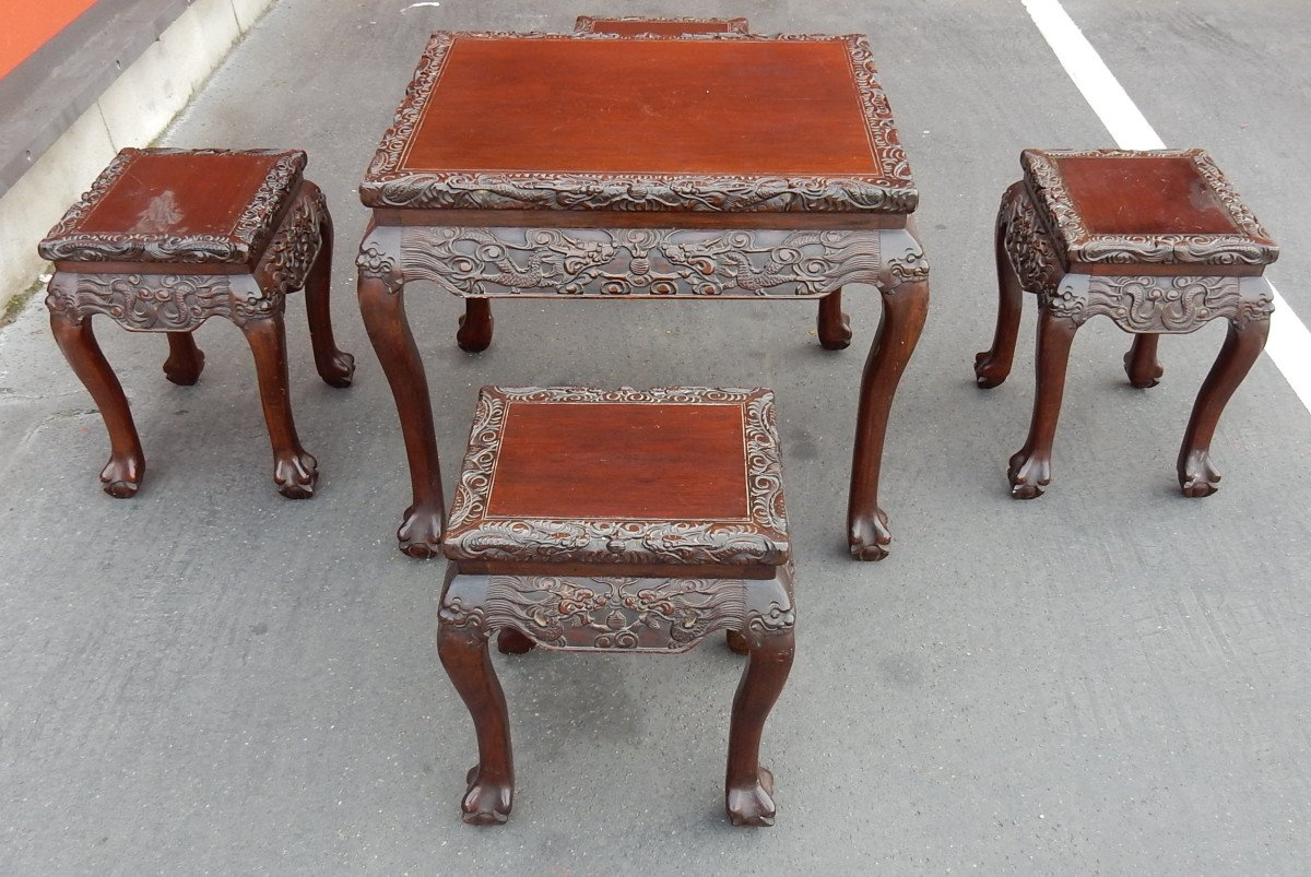 1920/1950 Table A Jeux Mahjong Chine Et Ses 4 Sièges Palissandre