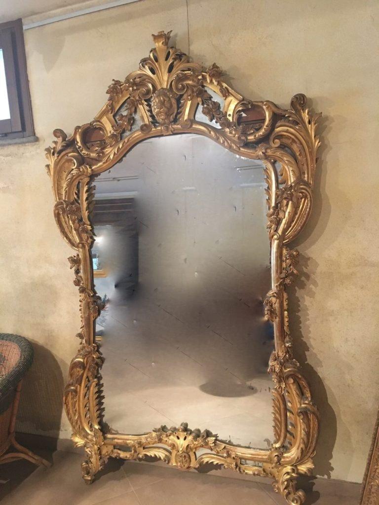 1850′ Miroir De Style Louis 15 En Bois Doré Glace Mercure 2m40 X 1m50-photo-2