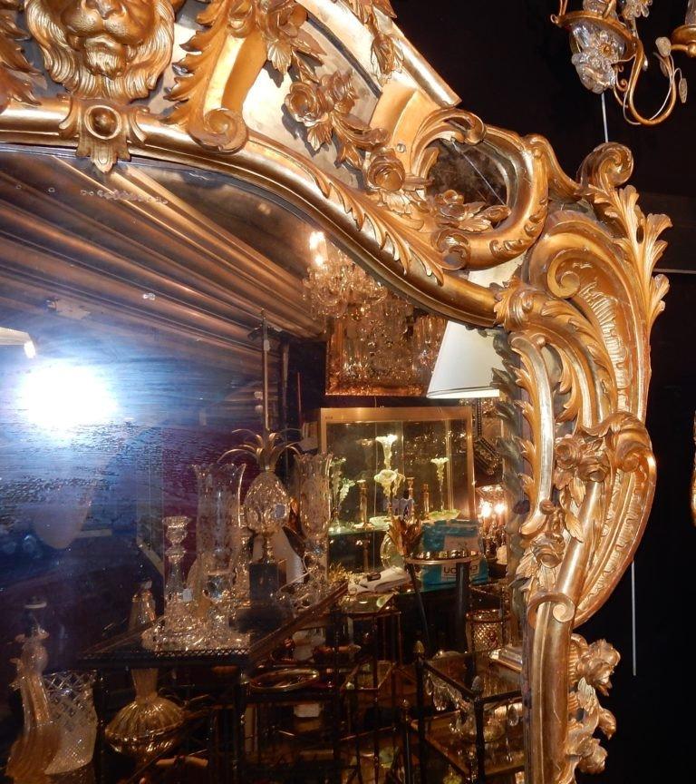 1850′ Miroir De Style Louis 15 En Bois Doré Glace Mercure 2m40 X 1m50-photo-4