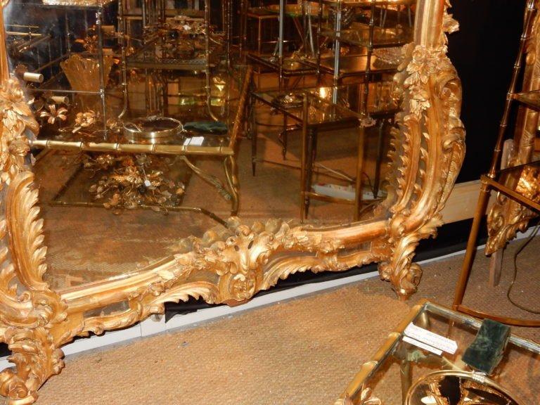 1850′ Miroir De Style Louis 15 En Bois Doré Glace Mercure 2m40 X 1m50-photo-3