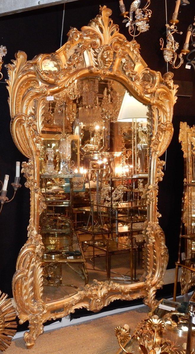 1850′ Miroir De Style Louis 15 En Bois Doré Glace Mercure 2m40 X 1m50