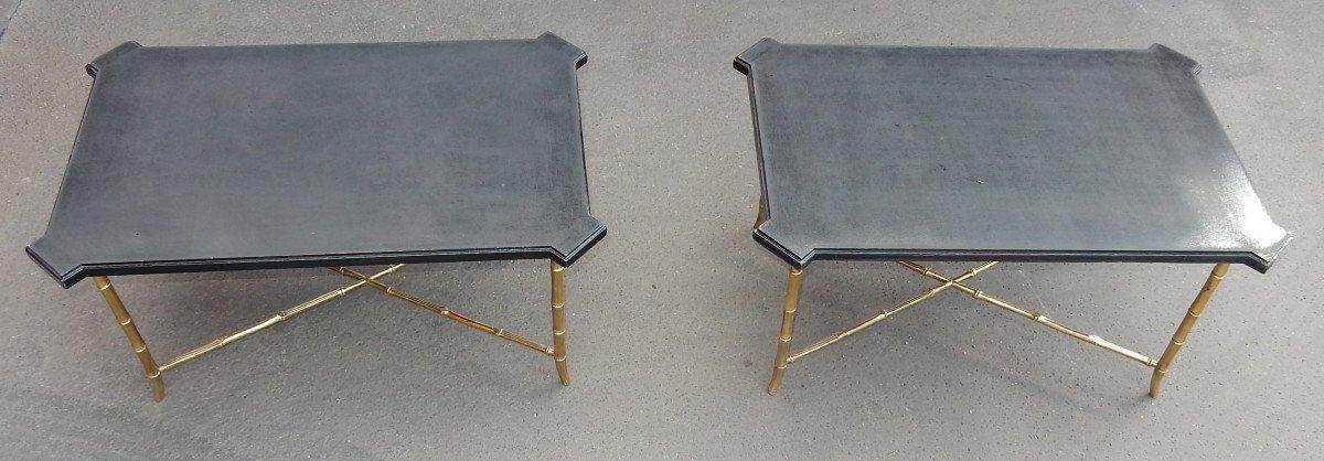 1950/70' Paire De Bouts De Canapés Bronze Modéle Bambou, Plateau Laque De Chine Maison Jansen-photo-1