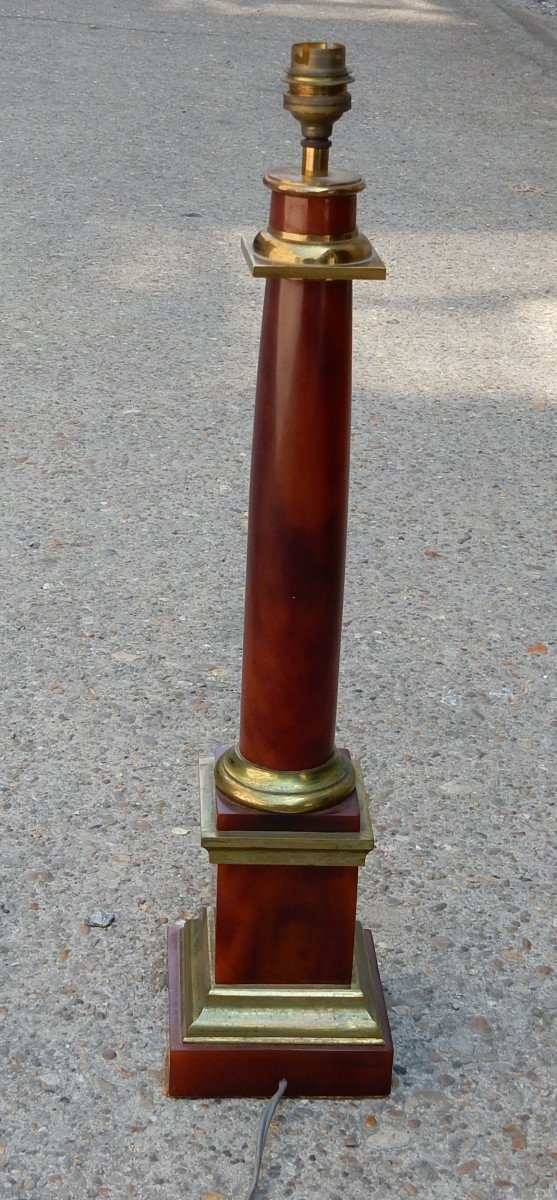 1950/70 Lampe Maison Jansen, Laiton Et Bakélite, Couleur Ambre-photo-2