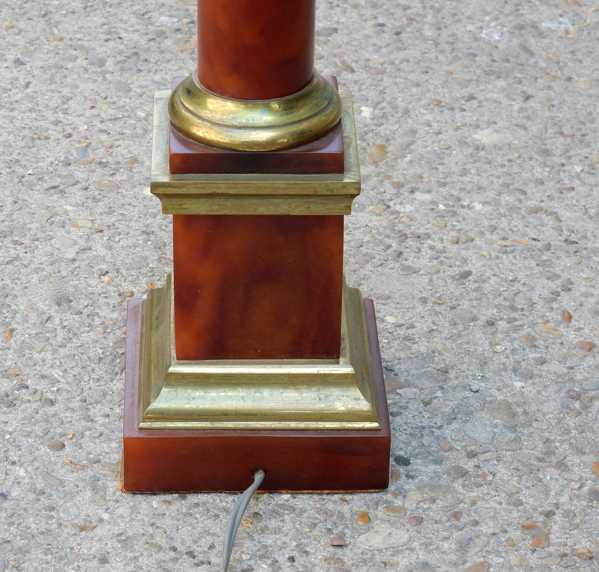 1950/70 Lampe Maison Jansen, Laiton Et Bakélite, Couleur Ambre-photo-3