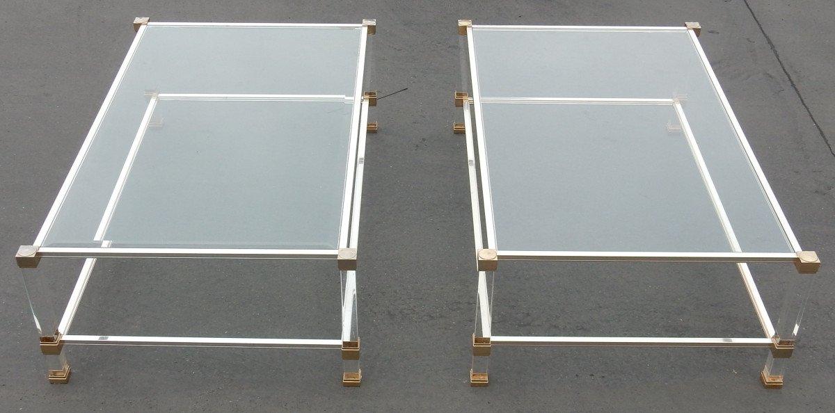 1970/80 Pair Of Tables Altuglas Pierre Vandel Paris 128 X 78 Cm