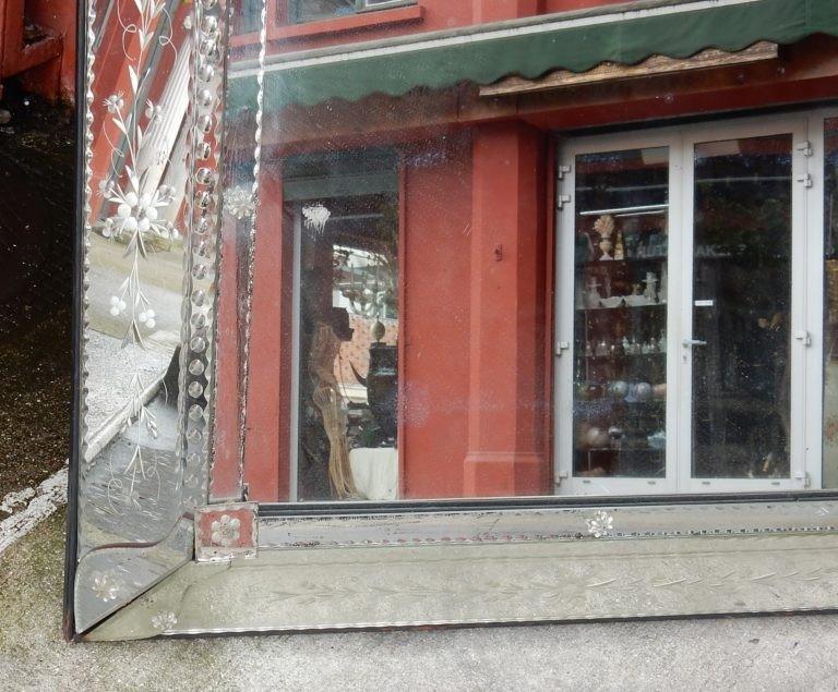 1900′ Miroir Venise à Parecloses Rectangulaire Décor De Fleurs 147 X 93 Cm-photo-1