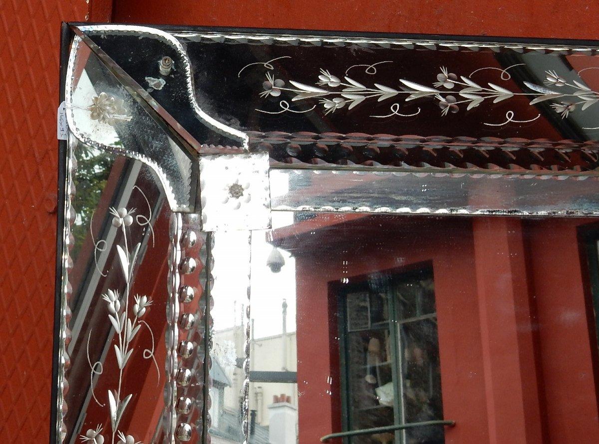 1900′ Miroir Venise à Parecloses Rectangulaire Décor De Fleurs 147 X 93 Cm-photo-3