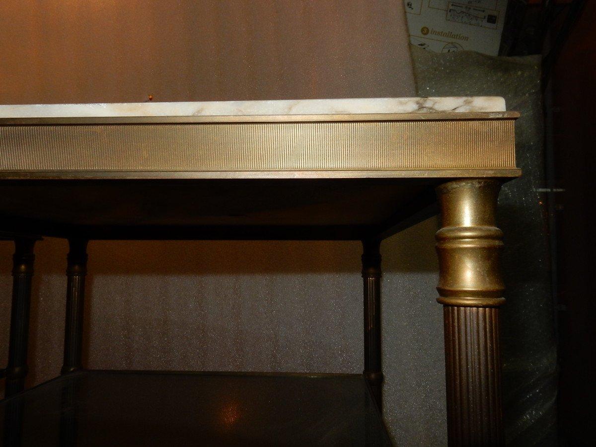 1950/70′ Paire De Bouts De Canapés En Laiton à 3 Niveaux Maison Jansen Plateaux Onyx-photo-5