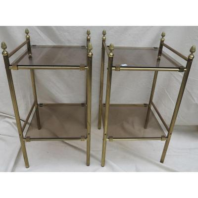 1970 Side Table Pair 37 X 37 In Brass Maison Bagués With Bronze Pin Cone