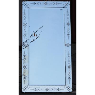 1900' Venice Rectangular Mirror With Flowers And Bubbles 174 X 92 Cm
