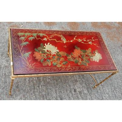 1950-1970 'coffee Table Deco Bronze Palm Tree,top Red Lacquer China Style Maison Bagués